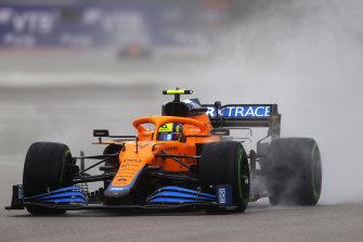 Norris drives his McLaren in Sochi.