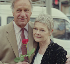 Geoffrey Palmer and Judi Dench attend a photocall to launch the new series of the BBC's As Time Goes By in London in February 1995.