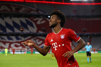 Kingsley Coman scored two goals and set up another in defending champions Bayern's rout of Atletico.