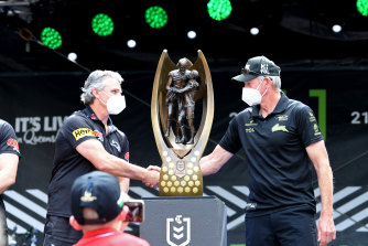 Good luck coach: Ivan Cleary (Penrith) and Wayne Bennett (Souths) on Friday.