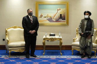Then-US secretary of state Mike Pompeo meeting with Mullah Abdul Ghani Baradar in Doha, Qatar in November 2020.