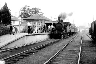 The Clyde-Carlingford steam locomotive, pictured at Carlingford railway station on 16 April 1958.