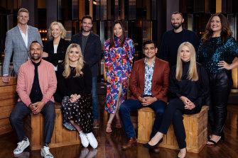 The cast of Celebrity Masterchef: (back row, l-r) Nick Riewoldt, Rebecca Gibney, Matt Le Nevez, Dami Im, Ian Thorpe, Chrissie Swann; (front row) Archie Thompson, Tilly Ramsay, Dilruk Jayasinha and Collette Dinnigan.