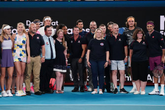 Players and firefighters came together in the Rally For Relief at Rod Laver Arena to raise money following the devastating bushfires.