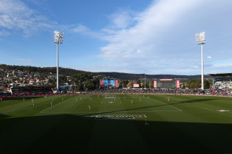 A view of Blundstone Arena from last year's AFL match there between North Melbourne and Melbourne.