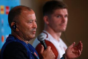 England coach Eddie Jones and captain Owen Farrell.  The Six Nations kicks off early Sunday morning AEDT.