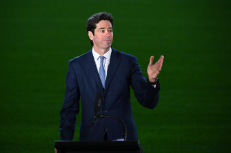 AFL CEO Gillon McLachlan. The league is set to announce a fixture for the first four weeks of the season on Monday.