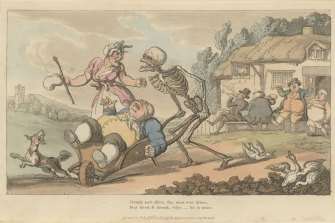 Grotesque caricatures for whom Death shows scant respect: The Sot from Thomas Rowlandson's satirical series The English Dance of Death.