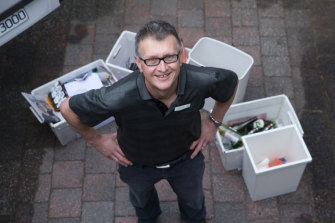 Grant Brooker, a councillor at Nillumbik,  is putting his recycling into four bins and taking it direct to sorting centres.