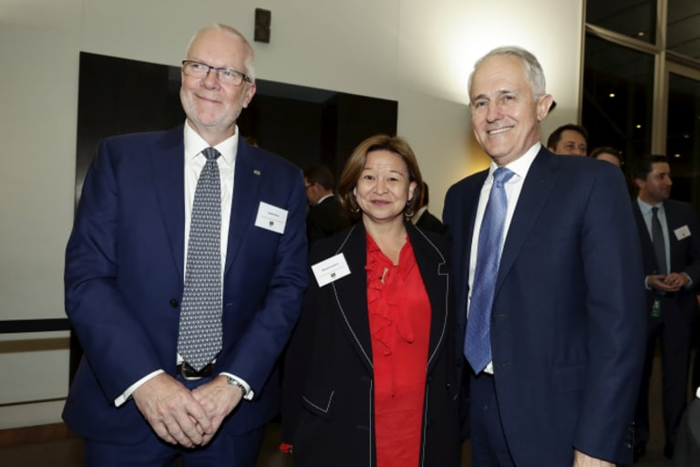 Former ABC chairman Justin Milne with Michelle Guthrie and Malcolm Turnbull in August, before all three ended up losing their jobs.