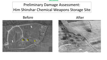 Before and after images from the Him Shinshar Chemical Weapons Storage Site in Syria that was struck by missiles from the US-led coalition.
