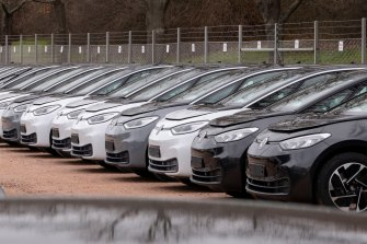 Electric ID.3 cars at the plant of the German manufacturer Volkswagen.