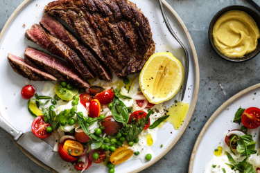 Karen Martini recipe for seared scotch fillet with mozzarella, peas and cherry tomatoes.