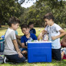 The Kalithrakas and Sveronis families picnic with their cooler at Centennial Park in Sydney in December.