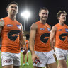 Mission accomplished - the Giants leave Metricon Stadium on the Gold Coast after their win over the Bombers.