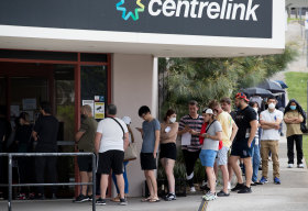JobKeeper was introduced at the height of the coronavirus pandemic as people losing their jobs queued outside Centrelink.