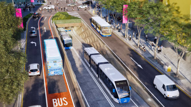 The Brisbane Metro project will see a 200-metre bus tunnel constructed under Adelaide Street.