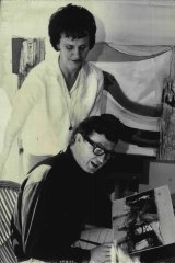 Artist Tom Gleghorn and his gallery director wife, Elise, in his studio in 1965.