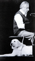 Julian Lee with his guide dog Ollie, mid 1990s.