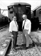Secretary of NSW Branch of ARU Jim Walshe (right) and Harold Dwyer lobbying for an inquiry into a rail crash in which people were injured. March 3, 1983.
