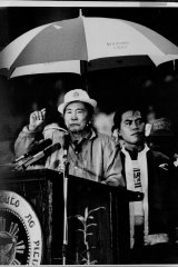 President Marcos during an election rally at Rizal Park.