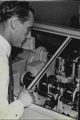 Arthur Midgely, chief technician of the speaking clock in Sydney in October 1960.