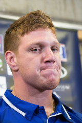 I wish it wasn't me: Dylan Napa speaks at Belmore on Wednesday.