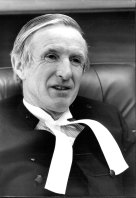 Justice Trevor Morling, Federal Court, in his chambers at the Supreme Court building, Queens Square, June 21, 1984.