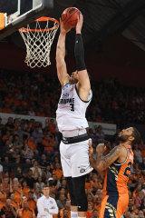 Grand slam: Josh Boone downs a dunk for Melbourne United.