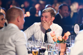 Ollie Wines listens to the votes during the Brownlow Medal count.