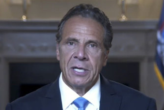 """In a pre-recorded farewell address, Andrew Cuomo portrayed himself as the victim of a """"media frenzy""""."""