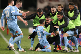 Marco Tilio celebrates his goal in Melbourne City's 2-0 win over Macarthur, which put them through to the A-League grand final.