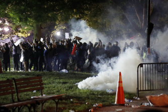 Tear gas billows as demonstrators gather in Lafayette Park, near the White House.