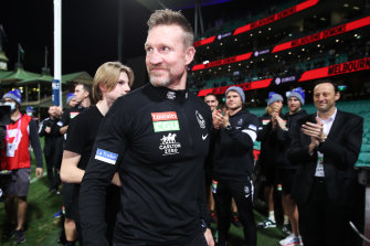Nathan Buckley during his last game as Magpies coach.
