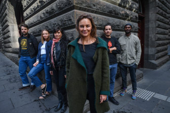 Swell creator Janenne Willis, centre, with performers (L-R) Glen Walton, Laura Hughes, Naretha Williams, Edd Fisher and Manoj Dias.