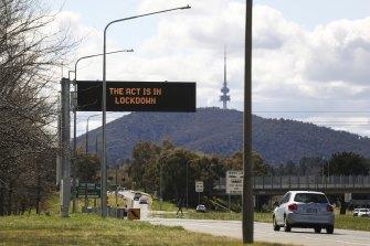 A street sign in Canberra last month.