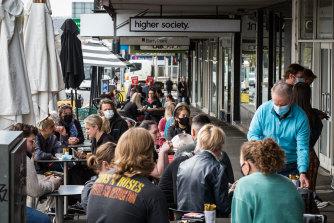 People enjoy outdoor dining along Sturt Street in Ballarat on Friday.