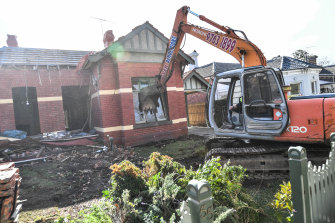 The house being demolished on Thursday.