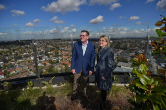 Premier Daniel Andrews and Transport Infrastructure Minister Jacinta Allan in Box Hill in August 2018 after announcing the $50 billion Suburban Rail Loop plan.
