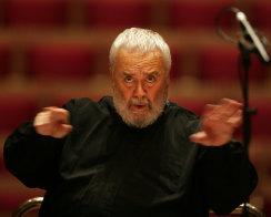 Gianluigi Gelmetti, conducting the Sydney Symphony Orchestra during rehearsal.