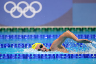 Ariarne Titmus en route to silver behind Katie Ledecky in the 800m freestyle final.