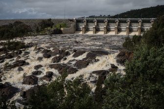 Water is released down the spillway at Wyangala Dam in 2016.