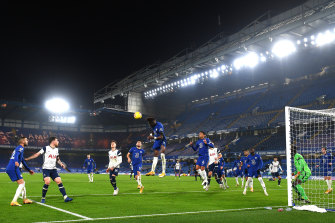 Tammy Abraham of Chelsea heads the ball clear during the scoreless Premier League draw with Tottenham at Stamford Bridge.