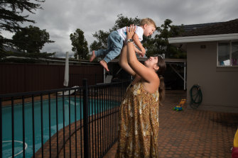 Sarah Whipp, with her son Riley, is planning a home birth to avoid the hospital during the coronavirus pandemic.