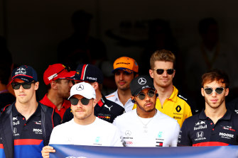 Lewis Hamilton, second from front right, was relegated at the Brazilian GP.