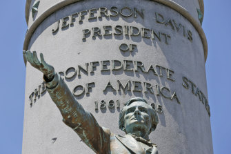 The statue of Confederate president Jefferson Davis on Monument Avenue in Richmond, Virginia, has been torn down.