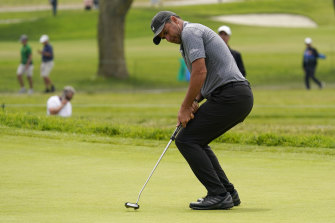 Richard Bland reacts to a missed putt.