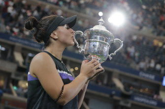 Bianca Andreescu of Canada celebrates  after beating Serena Williams in the 2019 US Open final.