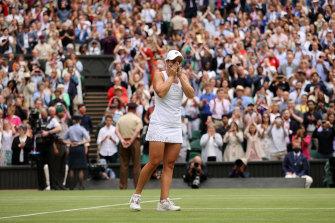Ash Barty soaks in her win at Wimbledon.
