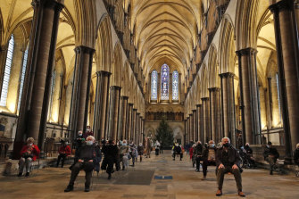 Salisbury's medieval cathedral was used as a COVID-19 vaccination centre.